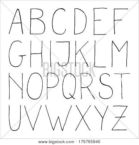 Vector alphabet in sketch style. Hand drawn decorative uppercase letters for posters, greeting cards, invitations.