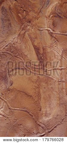 Fictional Mars Soil Aerial View. Trace of Water on Mars Channels