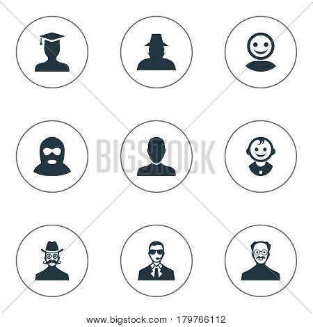 Vector Illustration Set Of Simple Human Icons. Elements Young Shaver, Moustache Man, Felon And Other Synonyms Student, Bodyguard And Mustaches.