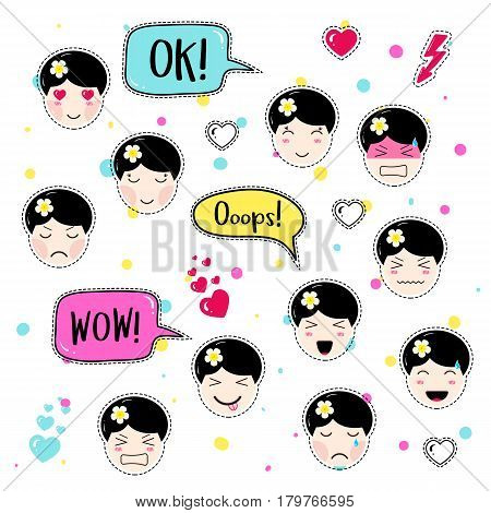 Set Cute Patch Badges Vector & Photo (Free Trial) | Bigstock