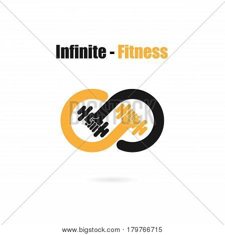 Infinite sign and dumbbell icon.Infinite,Fitness and gym logo.Healthcaresportmedical and science symbol.Healthy lifestyle vector logo template.Vector illustration