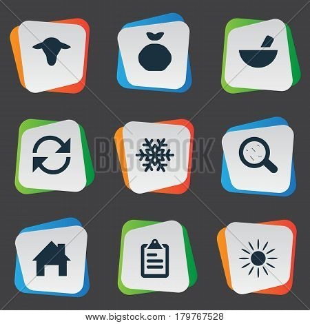 Vector Illustration Set Of Simple Agricultural Icons. Elements Snowflake, Buffalo, Virus And Other Synonyms Snow, List And Small.
