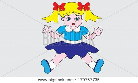 A cute and charming little girl doll isolated on a neutral background.