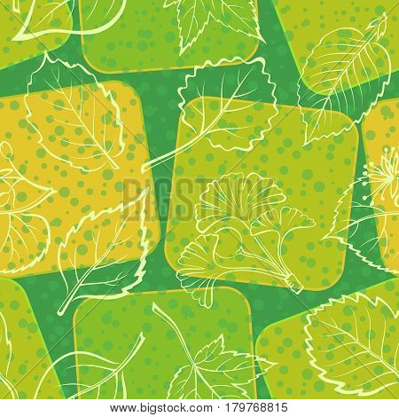Seamless Background with Pictogram Leaves of Various Plants, Trees and Shrubs, Confetti and Squares, Abstract Nature Pattern. Eps10, Contains Transparencies. Vector