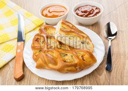 Pieces Of Pie In Plate, Kitchen Knife, Sauces In Bowls