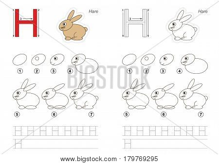 Vector illustrated alphabet with kid educational game to learn handwriting with easy gaming level for preschool kids, the drawing tutorial for letter H. Hare.