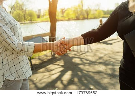 Crop faceless shot of two businesswomen shaking hands on background of park in sunlight.