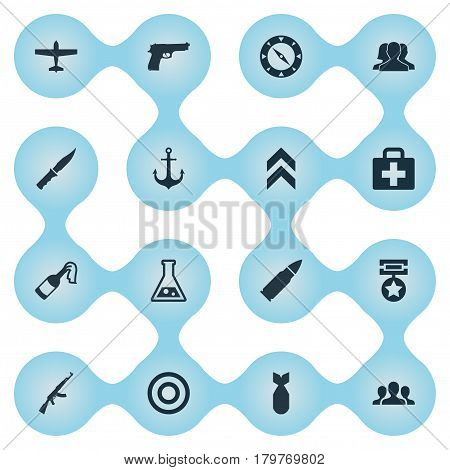 Vector Illustration Set Of Simple War Icons. Elements Nuke, Cold Weapon, Kalashnikov And Other Synonyms Chemistry, Ammunition And Order.