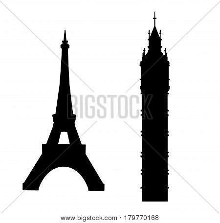 Big Ben and Eiffel Tower silhouettes vector icons