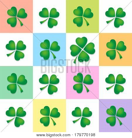 Clover leaf pattern, four and three leaved clovers on colored square background. Vector illustration.
