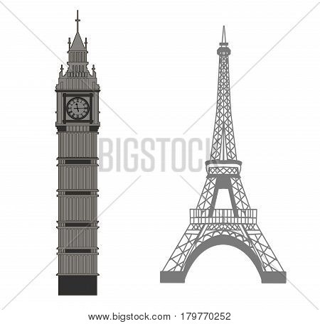 Big Ben and Eiffel Tower vector icons
