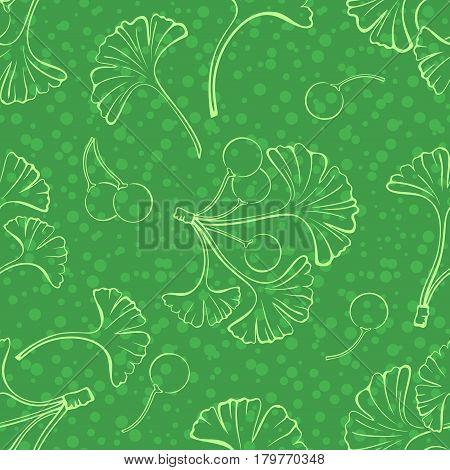 Seamless Background with Pictogram Leaves and Fruits of Ginkgo Biloba Tree and Confetti, Abstract Nature Pattern. Vector