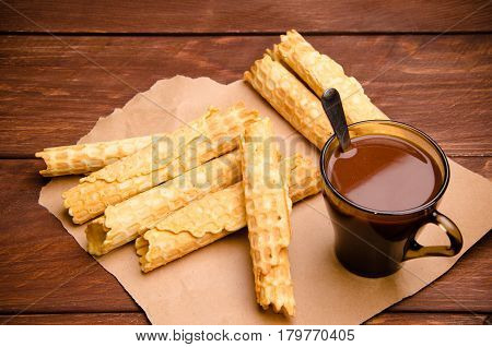 Tubular Wafer. Waffles On Wooden Boards. Hot Chocolate. Kraft Paper