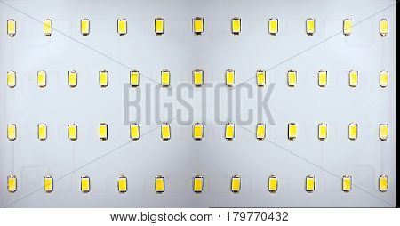 Energy saving LED light bulb on a green background with empty spase