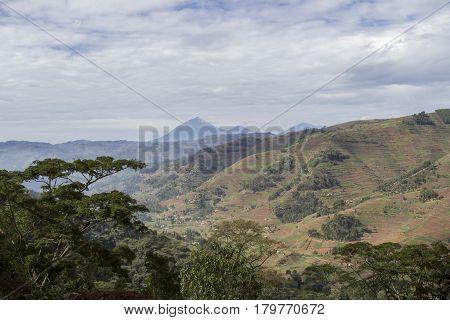 Volcanoes National Park Over Hillside Landscape Rwanda, Africa