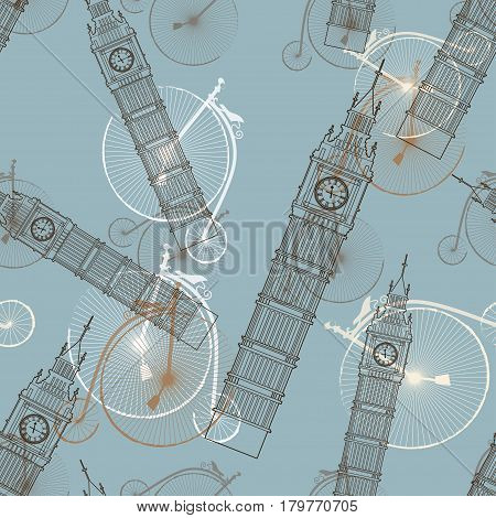 Big Ben vector contur. England or London icon with old vintage bicycles seamless pattern