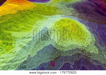 Mountain Topography Map In Sand