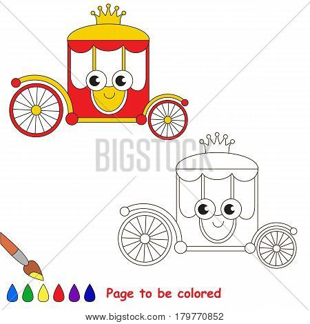 Red and gold princess chariot to be colored, the coloring book for preschool kids with easy educational gaming level.