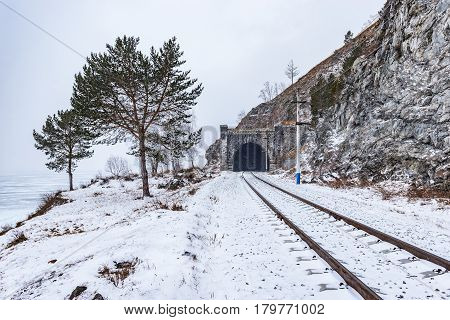 Circum Baikal Railway winter day time. Russia.