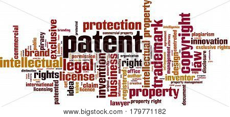 Patent word cloud concept. Vector illustration on white
