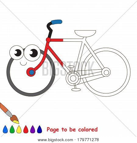 Two Wheeled Bicycle, the coloring book to educate preschool kids with easy gaming level, the kid educational game to color the colorless half by sample.