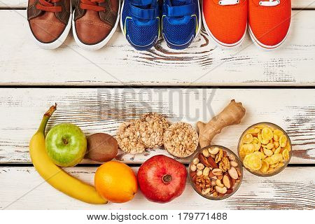 Sport footwear, fruits and nuts. How to feel good.