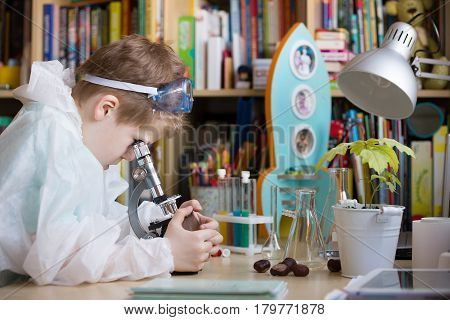 Cute elementary school boy looking into microscope at his desk at home. Young scientist making experiments in his home laboratory. Indoors. Child and science.