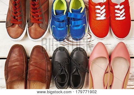 Different kinds of footwear. Ready to go walking.