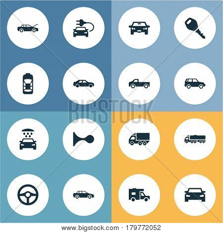 Vector Illustration Set Of Simple Transport Icons. Elements Car Charging, Vehicle, Driving And Other Synonyms Race, Carriage And Wagon.