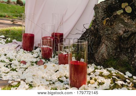 Beautiful wedding set up for the ceremony with candles