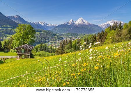 Alpine Scenery With Traditional Mountain Chalet In Summer
