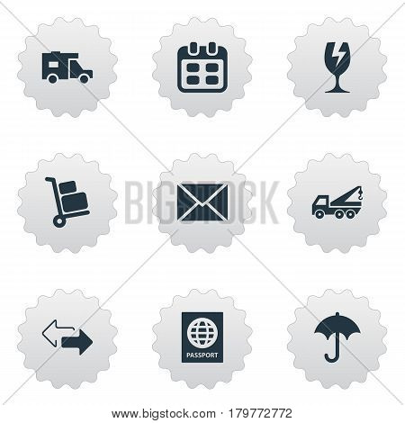 Vector Illustration Set Of Simple Delivery Icons. Elements Passport, Day, Caravan And Other Synonyms Transportation, Calendar And Eviction.