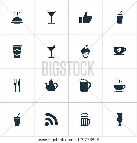 Vector Illustration Set Of Simple Food Icons. Elements Fork With Knife, Food Tray, Coffee Late And Other Synonyms Tray, Hot And Utensil.