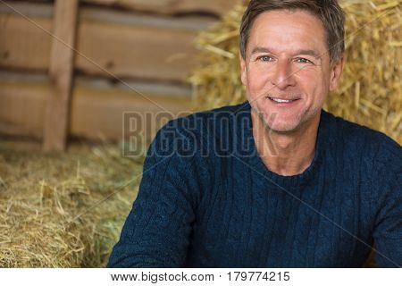 Portrait shot of an attractive, successful and happy middle aged man male wearing a blue sweater sitting on hay bales in a barn or stables