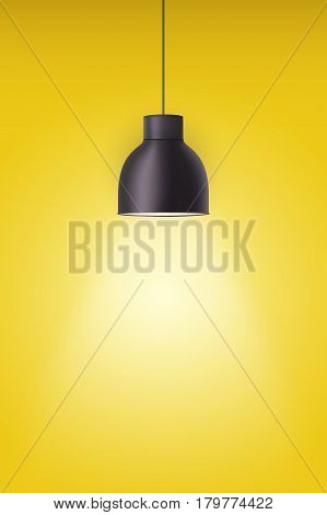 Vintage metal stylish cone lamp on yellow painting wall. Original Retro design. Hang ceiling model. Vector illustration Isolated on white background.