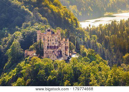 Hohenschwangau Castle At Sunset, Bavaria, Germany