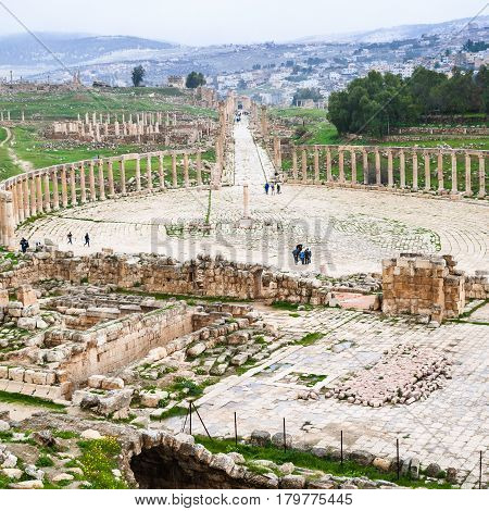 Bove View Of The Oval Forum And Cardo Maximus Road