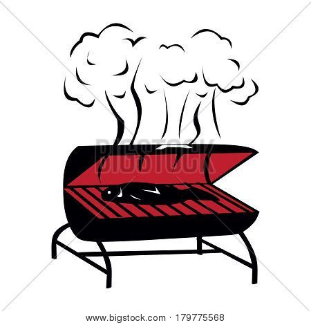 Vector black BBQ Grill icon on white background