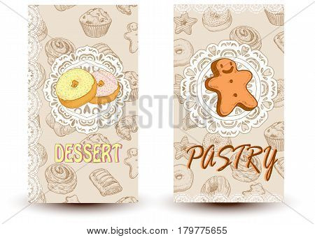 desserts and pastri Design elements in sketch style for confectionery and bakery shops.