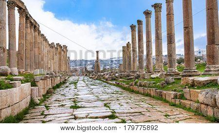 Wet Cardo Maximus Road In Jerash (ancient Gerasa)
