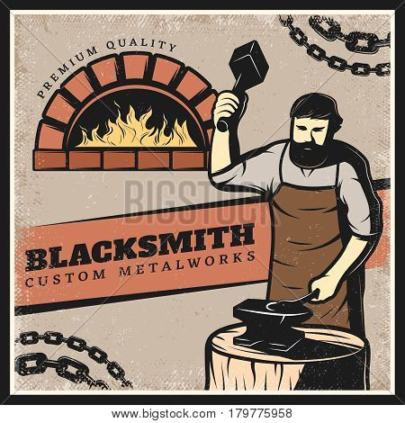 Vintage colorful blacksmith poster with metal chain fireplace and working on anvil master holding sledgehammer vector illustration