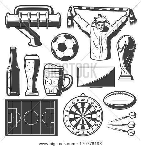 Vintage sport bar elements collection with beer glass tap fan screen cup football balls field darts isolated vector illustration