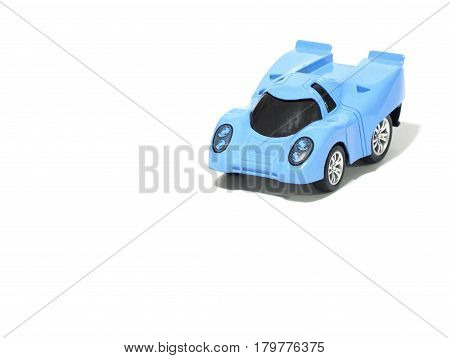 the Blue toy car on white background