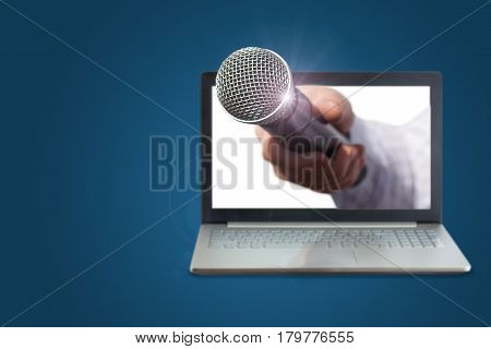Hand With Microphone For Interviews.