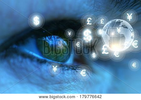 Eyes Looking At Currency Symbols.