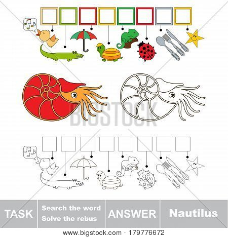 Educational puzzle game for kids. Find the hidden word Nautilus