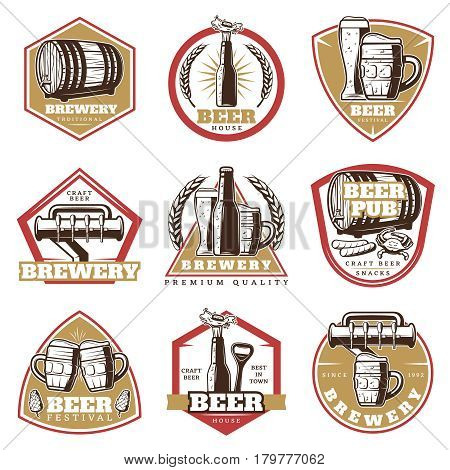 Colorful vintage beer emblems set with glasses mugs bottle tap wooden barrel opener snacks isolated vector illustration