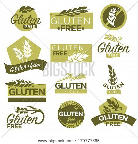 Gluten free vector logo templates. Isolated set of icons for healthy dietetic food product labels