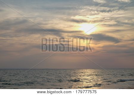 Landscape view of sunset at the beach in Chantaburi Thailand.