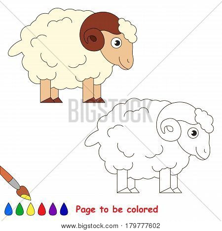 Bighorn to be colored, the coloring book for preschool kids with easy educational gaming level.